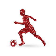 Soccer player running with soccer ball action designed using grunge brush graphic vector