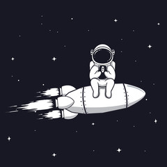 Funny astronaut sits on rocket and play with mobile phone,smartphone.Prints vector design.