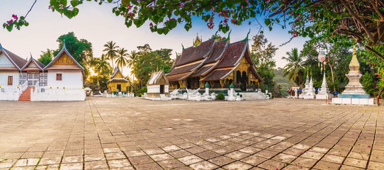 Panorama shot at Wat Xieng Thong (Golden City Temple) in Luang Prabang, Laos. Xieng Thong temple is one of the most important of Lao monasteries.