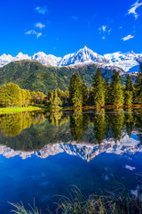 Reflections of snowy peaks