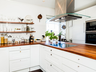 wooden kitchen counter top in modern fancy scandinavian kitchen