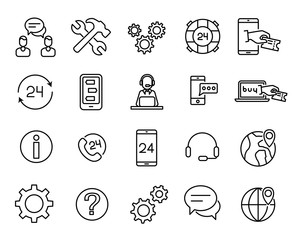 Simple collection of customer service related line icons.