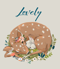 cute summer deer with hare