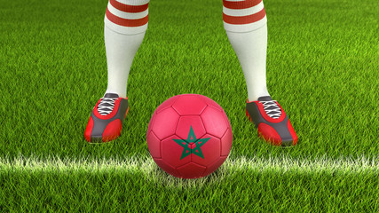 Man and soccer ball  with Moroccan flag. Image with clipping path