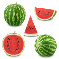 Set of watermelons on a white background. As design elements.