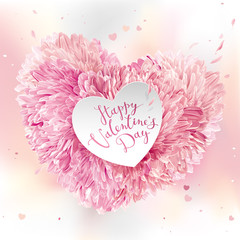 Pink Flower Heart  for Valentine's Day
