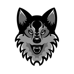Emblem of the muzzle of an angry wolf