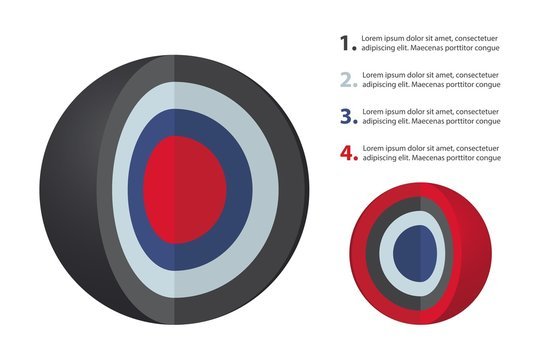 Spherical diagram consisting of 4 layers. Infographic set for presentations. Layered sphere. Round design element isolated on white background. Abstract vector infographic illustration.