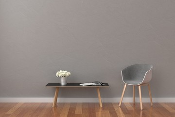 Modern grey living room with modern chair and table. minimal style concept.