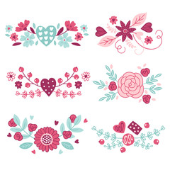Set of floral bouquets with hearts, flowers, roses, leaves, berries