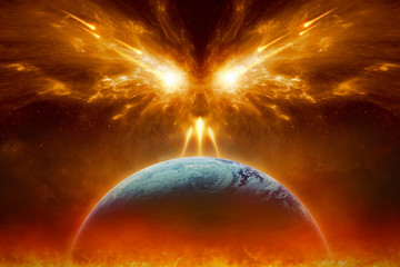 Judgment day, end of world, complete destruction of planet Earth, absolute evil Wall mural