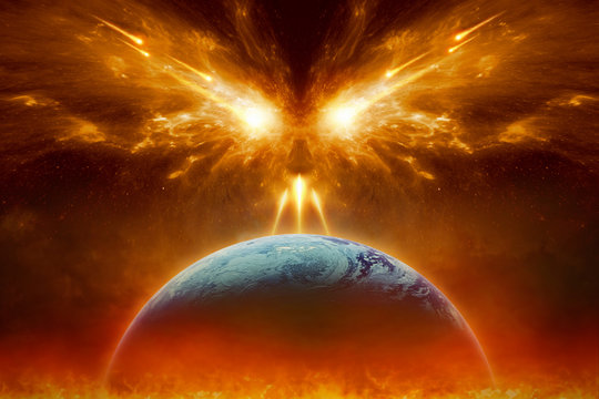 Judgment day, end of world, complete destruction of planet Earth, absolute evil