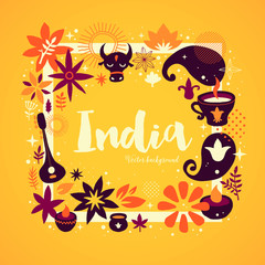 India background/banner template with abstract, floral and national elements. Useful for traveling advertising and web design.