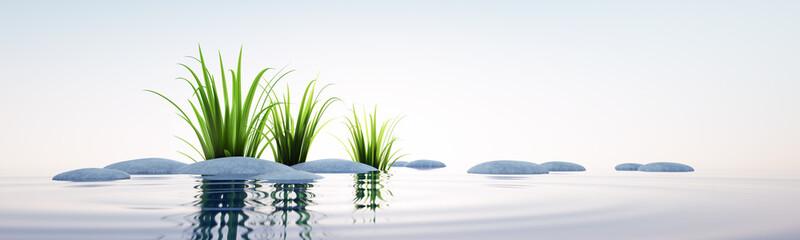 Steine und Gras im See Querformat