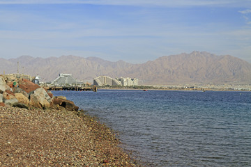 coastline in city Eilat located on the Red sea