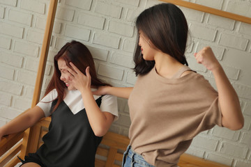 two women fighting, punching, hitting, concept of domestic violence,  physical assault crime