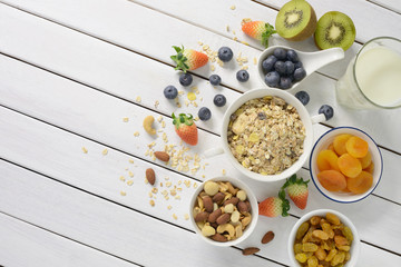 Healthy food, healthy muesli breakfast with milk and fruits on white wooden table