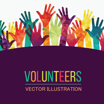 Colorful up hands. Volunteers. Vector illustration, an association, unity, partners, company, friendship, friends party background Vector illustration