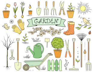 colorful hand drawn garden tools set