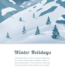 Landscape with mountain peaks. Winter sport vacation and outdoor recreation. Vector