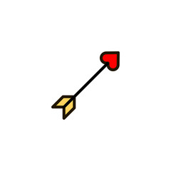 Outline cupid arrow icon isolated on white background. Valentines day symbol for website design, mobile application, ui. Editable stroke. Vector illustration. Eps10.