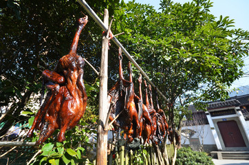 Rows of cured meat hanging to dry