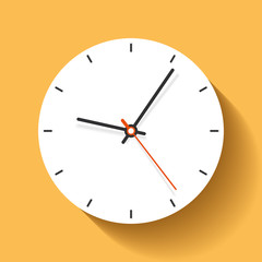 Clock icon in flat style, minimalistic timer on orange background. Business watch. Vector design element for you project
