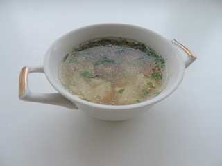 meat soup in the plate