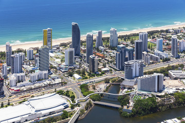 Aerial view of Broadbeach with the convention centre and casino on the Gold Coast