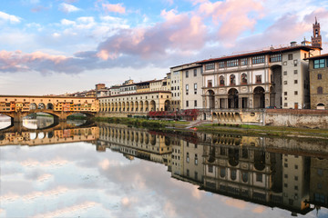 vasari corridor and ponte vecchio bridge at background, florence