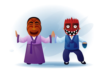 Man And Woman Wearing Traditional Asian Clothes Kimono And Tribal mask Dancing Asia Tradition Performance Flat Vector Illustration