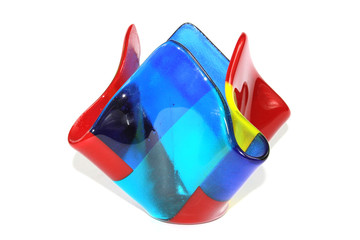 Abstract Square Shaped Glass Vase Jar on White Background