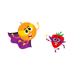 vector flat cartoon funny fruit, vegetable character in masks set. Orange in cape and mask flying , strawberry holding magic wand with star. Isolated illustration on a white background.