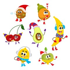 Set of funny fruit characters with smiling human faces having fun in winter, comic, cartoon vector illustration isolated on white background. Set of happy fruit winter characters in warm clothes