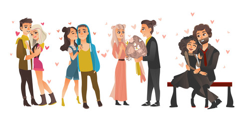 Vector cute young couples in love dating at valentine's day set. Cartoon beautiful characters in casual, formal clothing hugging, embrasing expressing care, positive emotions. Isolated illustration.