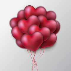 Bunch of glossy heart balloons. Valentines day holiday sign. Vector illustration, heart shape. Place for text. Festive decoration element. Love concept.