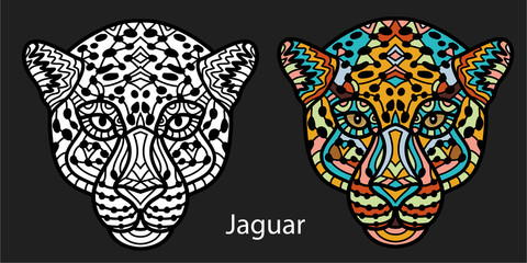 Monochrome hand-drawn ink drawing. Painted Jaguar with tribal pattern.