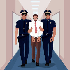 Police officers arrested businessman at office and lead him with handcuffs in business center. Corruption or Crime concept. Simplistic realistic cartoon style