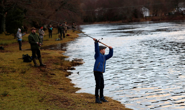 Anglers cast their lines on the opening day of the salmon fishing season on the River Tay at Kenmore in Scotland