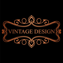 Golden vintage calligraphic label. Ornate logo template for design of invitations, greeting cards, banners, posters, placards, badges, hotel, restaurant, business identity. Vector illustration.