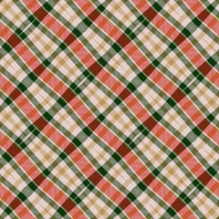 Country style red beige green diagonal tartan plaid seamless design