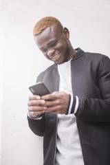 African american man making himself selfie portrait of smart phone