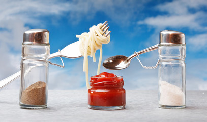 funny cutlery salt shaker and pepper cooked italian spaghetti