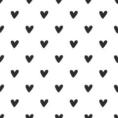 Seamless pattern with hand drawn hearts. Vector illustration in scandinavian style