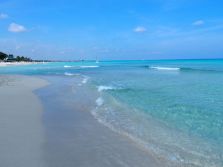 Sandy beach at Caribbean Sea in Varadero city in Cuba