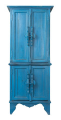 Vintage Furniture - Retro  wooden antique turquoise cupboard isolated on white background including clipping path
