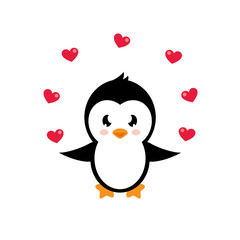 cartoon lovely penguin with heart
