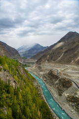 Hunza River is the principal river of Hunza in Gilgit–Baltistan,Pakistan. It is formed by the confluence of the Kilik and Khunjerab nalas (gorges) which are fed by glaciers