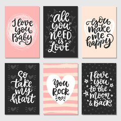 Hand drawn Valentines Day collection with brush lettering