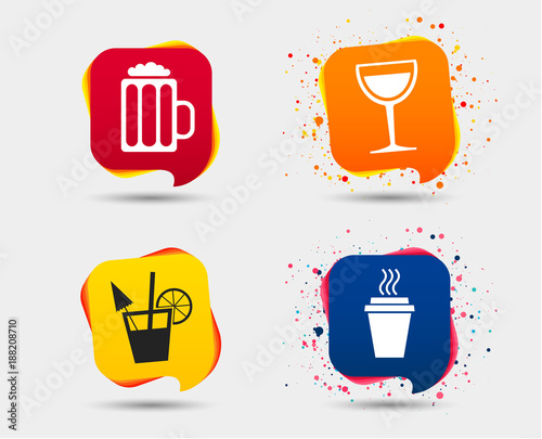 Drinks Icons Take Away Coffee Cup And Glass Of Beer Symbols Wine